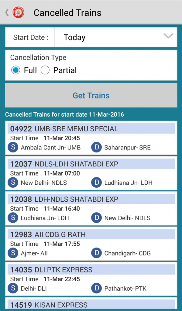 Cancelled Trains National Train Enquiry System
